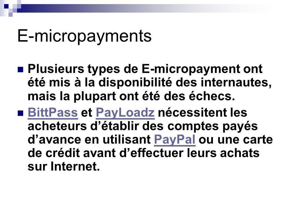 E-micropayments Plusieurs types de E-micropayment ont été mis à la disponibilité des internautes, mais la plupart ont été des échecs.