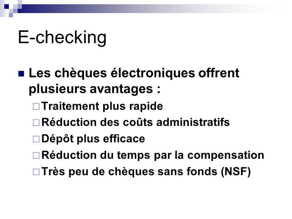 E-checking Les chèques électroniques offrent plusieurs avantages : Traitement plus rapide Réduction des coûts administratifs Dépôt plus efficace Réduction du temps par la compensation Très peu de chèques sans fonds (NSF)