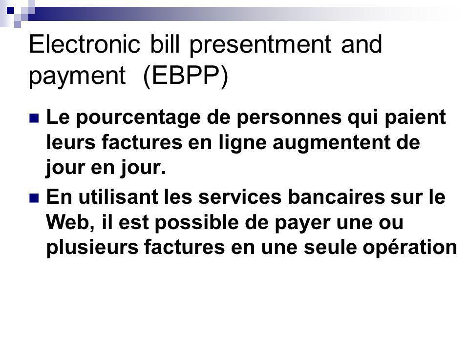 Electronic bill presentment and payment (EBPP) Le pourcentage de personnes qui paient leurs factures en ligne augmentent de jour en jour.