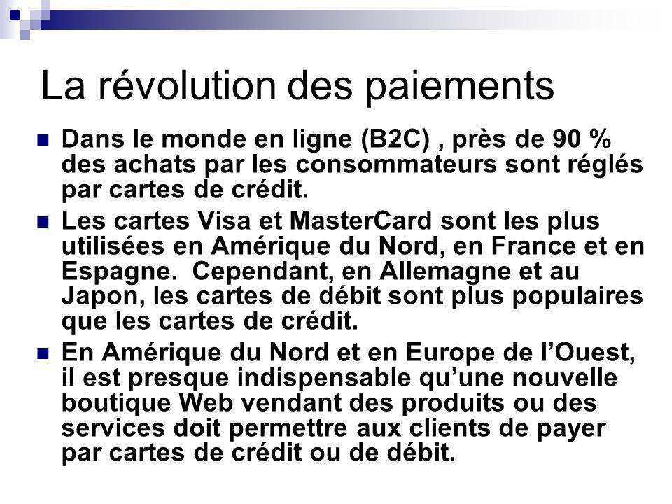 La révolution des paiements Dans le monde en ligne (B2C), près de 90 % des achats par les consommateurs sont réglés par cartes de crédit.