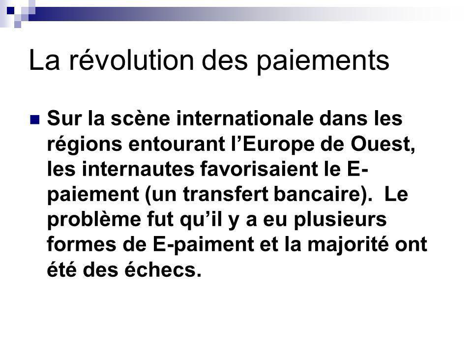 La révolution des paiements Sur la scène internationale dans les régions entourant lEurope de Ouest, les internautes favorisaient le E- paiement (un transfert bancaire).