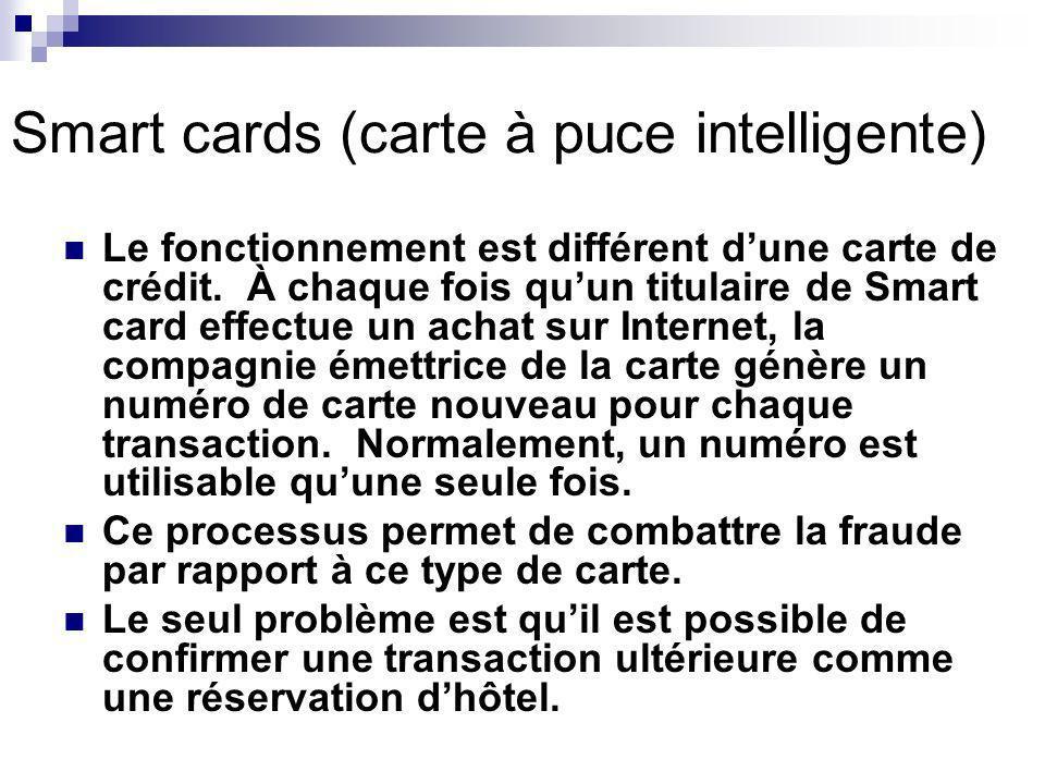 Smart cards (carte à puce intelligente) Le fonctionnement est différent dune carte de crédit.