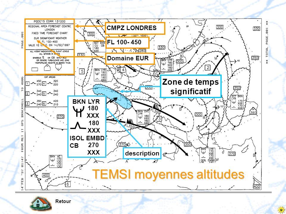 Retour Domaine EUR FL 100- 450 CMPZ LONDRES Zone de temps significatif description BKN LYR 180 XXX 180 XXX ISOL EMBD CB 270 XXX TEMSI moyennes altitud