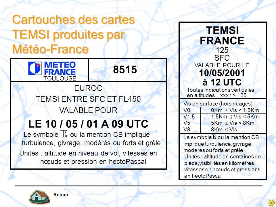Cartouches des cartes TEMSI produites par Météo-France Retour TOULOUSE 8515 TEMSI FRANCE 125 SFC VALABLE POUR LE 10/05/2001 à 12 UTC Toutes indication