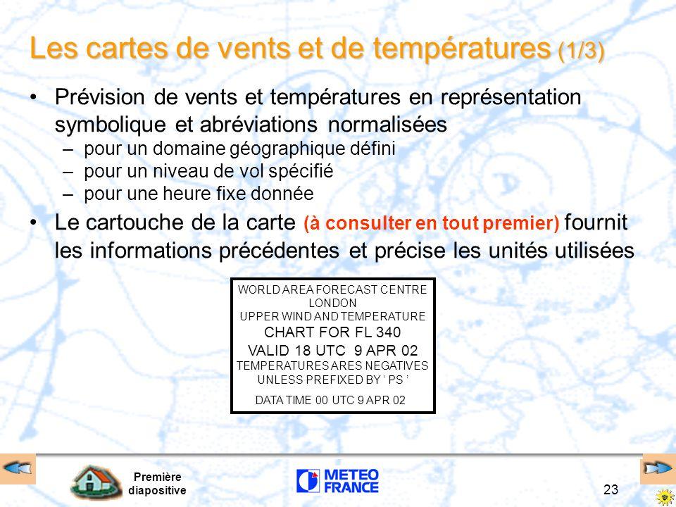 Première diapositive 23 Les cartes de vents et de températures (1/3) Prévision de vents et températures en représentation symbolique et abréviations n