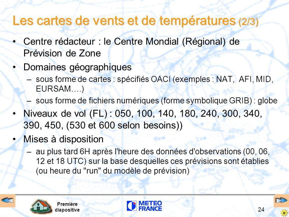 Première diapositive 24 Les cartes de vents et de températures (2/3) Centre rédacteur : le Centre Mondial (Régional) de Prévision de Zone Domaines géo