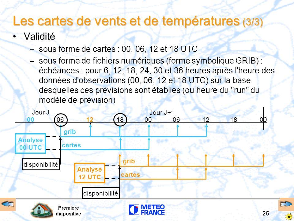 Première diapositive 25 Les cartes de vents et de températures (3/3) Validité –sous forme de cartes : 00, 06, 12 et 18 UTC –sous forme de fichiers num