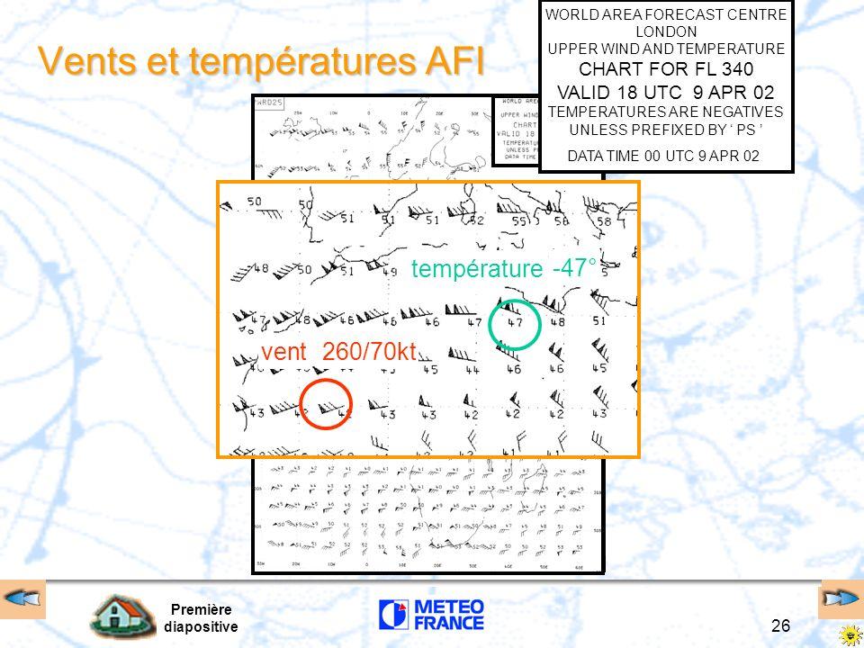 Première diapositive 26 Vents et températures AFI vent température -47° 260/70kt WORLD AREA FORECAST CENTRE LONDON UPPER WIND AND TEMPERATURE CHART FO