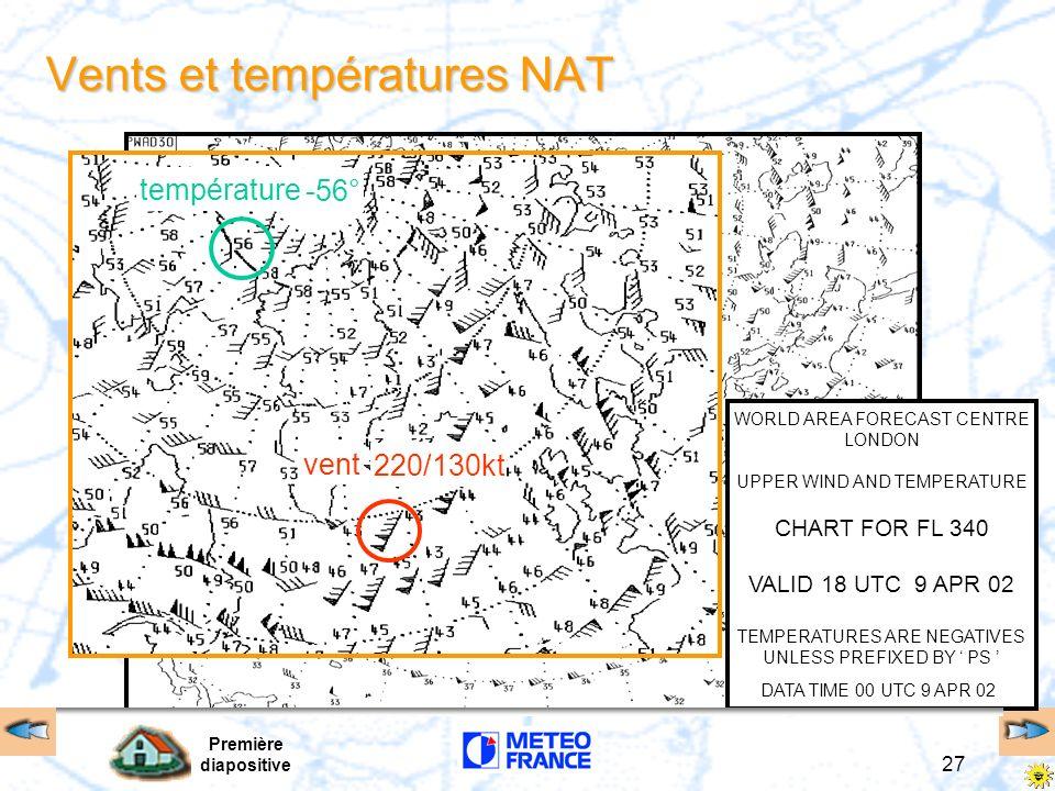 Première diapositive 27 Vents et températures NAT WORLD AREA FORECAST CENTRE LONDON UPPER WIND AND TEMPERATURE CHART FOR FL 340 VALID 18 UTC 9 APR 02