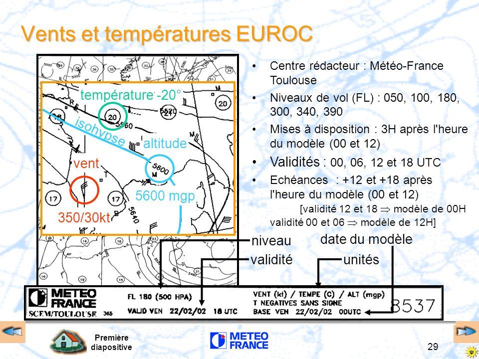 Première diapositive 29 niveau validitéunités date du modèle Vents et températures EUROC vent température-20° altitude isohypse 5600 mgp 350/30kt Cent