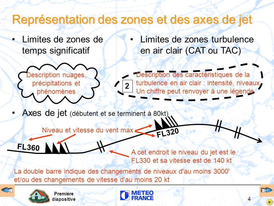 Première diapositive 4 Représentation des zones et des axes de jet Limites de zones de temps significatif Limites de zones turbulence en air clair (CA