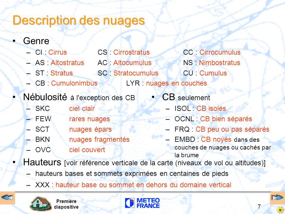 Première diapositive 7 Description des nuages Genre –CI : Cirrus CS : Cirrostratus CC : Cirrocumulus –AS : Altostratus AC : Altocumulus NS : Nimbostra