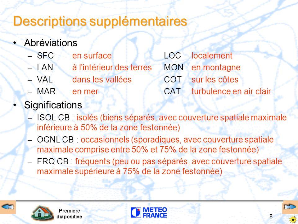 Première diapositive 8 Descriptions supplémentaires Abréviations –SFCen surface LOClocalement –LANà l'intérieur des terres MONen montagne –VALdans les