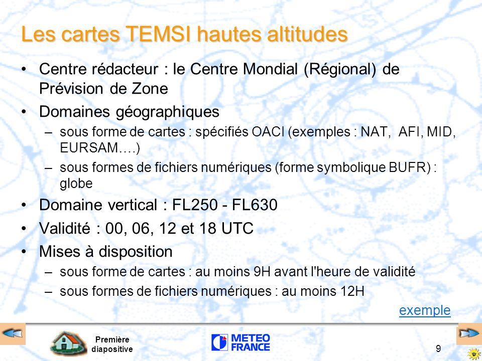 Première diapositive 9 Les cartes TEMSI hautes altitudes Centre rédacteur : le Centre Mondial (Régional) de Prévision de Zone Domaines géographiques –