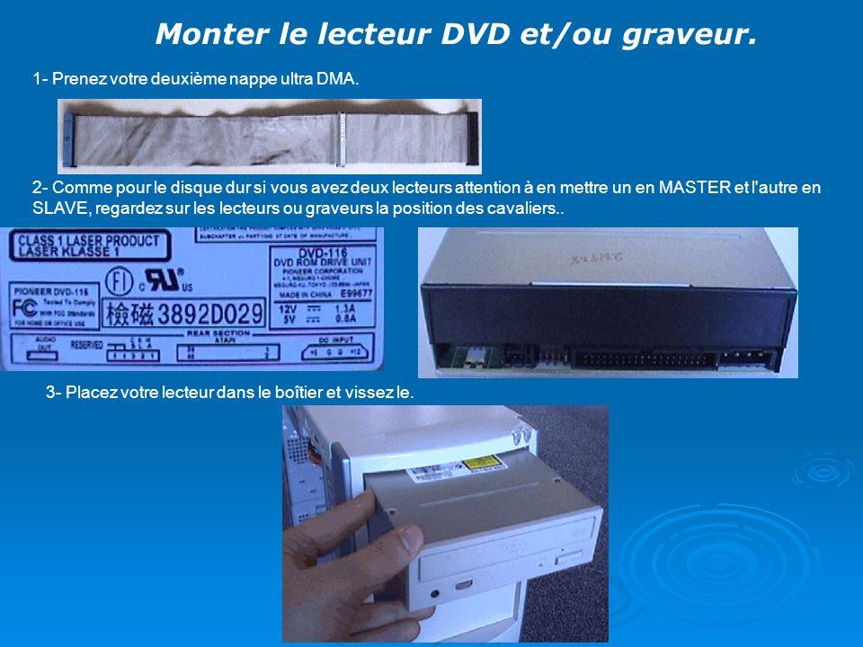 Monter le lecteur DVD et/ou graveur. 1- Prenez votre deuxième nappe ultra DMA. 2- Comme pour le disque dur si vous avez deux lecteurs attention à en m