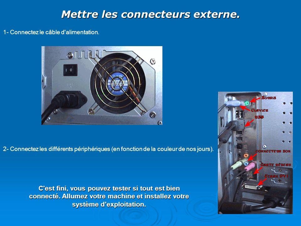 Mettre les connecteurs externe. 1- Connectez le câble d'alimentation. 2- Connectez les différents périphériques (en fonction de la couleur de nos jour