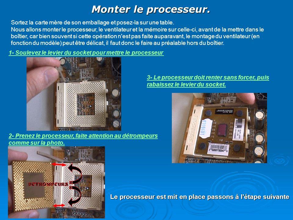 Monter le processeur. Sortez la carte mère de son emballage et posez-la sur une table. Nous allons monter le processeur, le ventilateur et la mémoire
