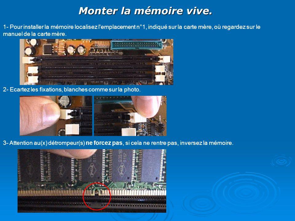 Monter la mémoire vive. 1- Pour installer la mémoire localisez l'emplacement n°1, indiqué sur la carte mère, où regardez sur le manuel de la carte mèr