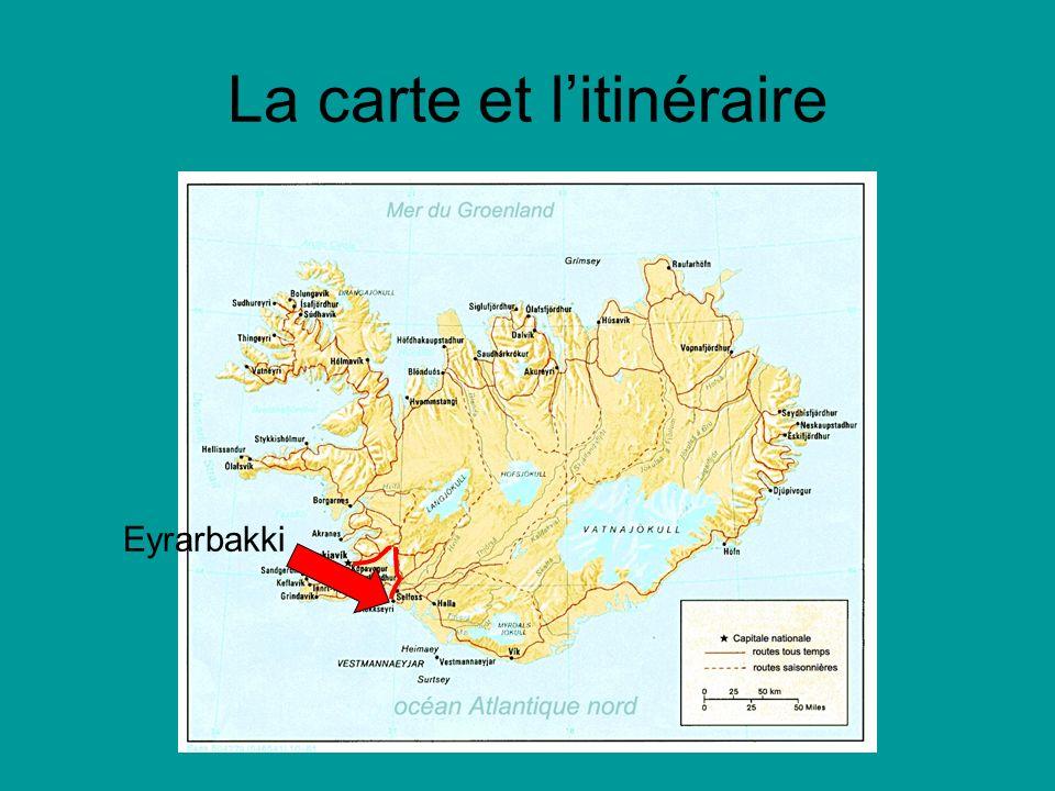 La carte et litinéraire Eyrarbakki