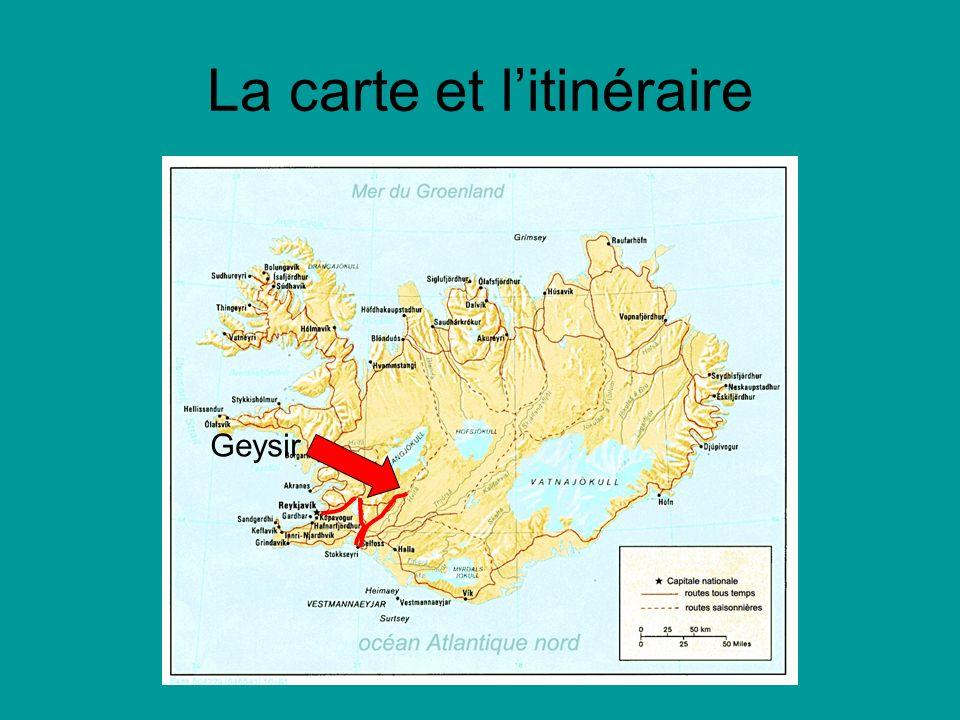 La carte et litinéraire Geysir