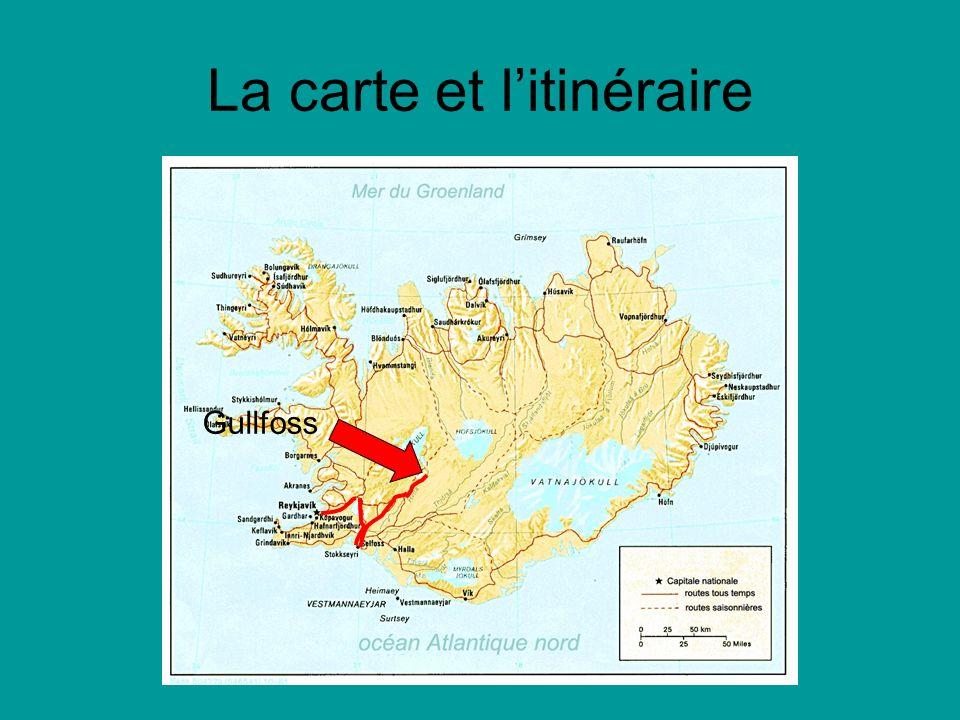 La carte et litinéraire Gullfoss