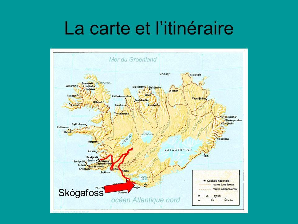 La carte et litinéraire Skógafoss
