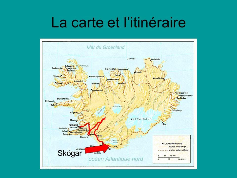 La carte et litinéraire Skógar