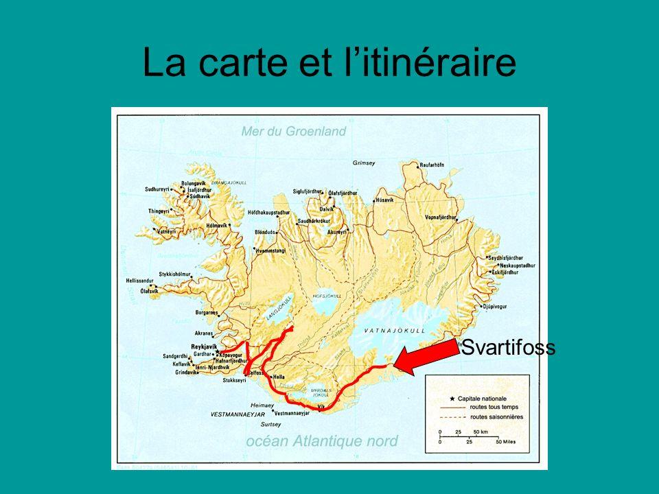 La carte et litinéraire Svartifoss