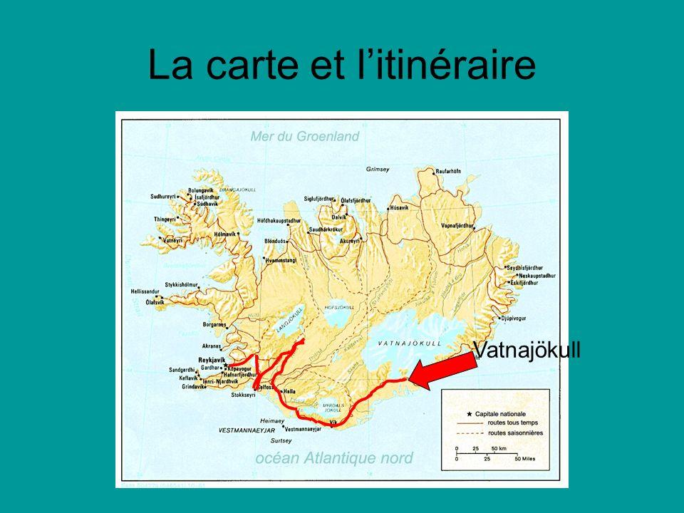 La carte et litinéraire Vatnajökull