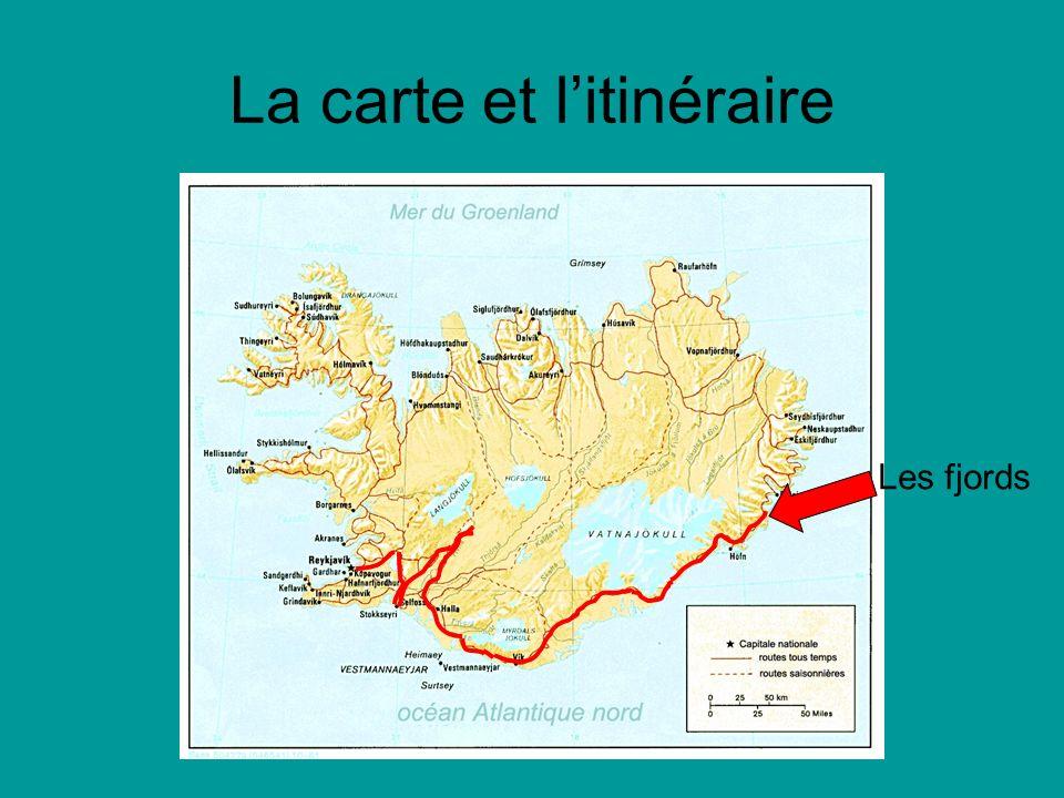 La carte et litinéraire Les fjords