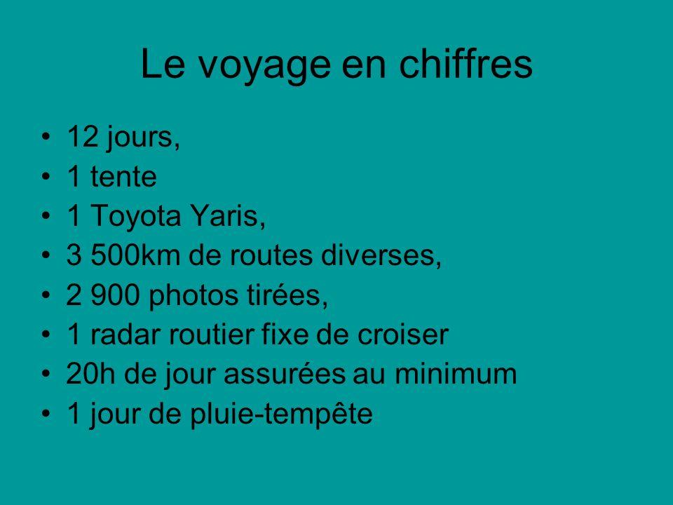 Le voyage en chiffres 12 jours, 1 tente 1 Toyota Yaris, 3 500km de routes diverses, 2 900 photos tirées, 1 radar routier fixe de croiser 20h de jour a
