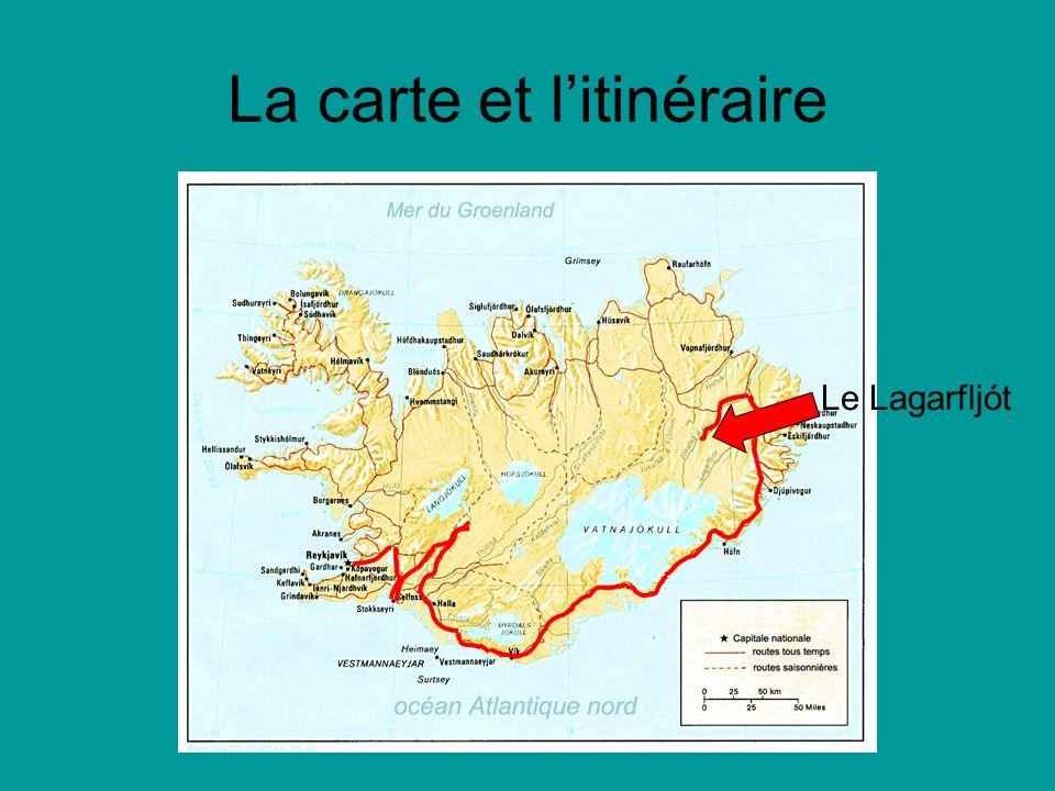 La carte et litinéraire Le Lagarfljót