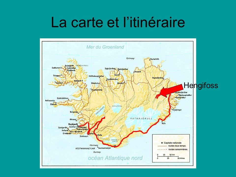 La carte et litinéraire Hengifoss