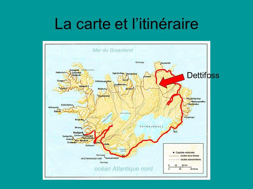 La carte et litinéraire Dettifoss
