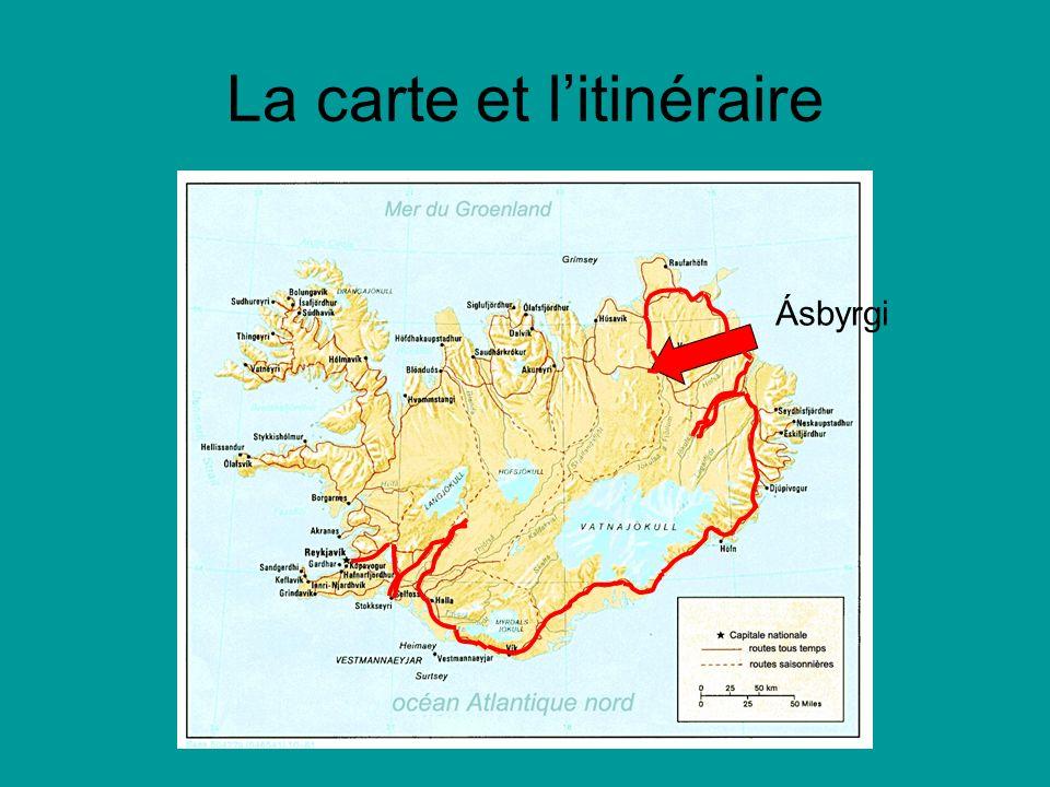 La carte et litinéraire Ásbyrgi