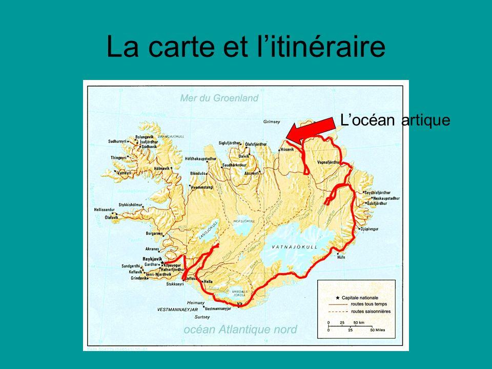 La carte et litinéraire Locéan artique