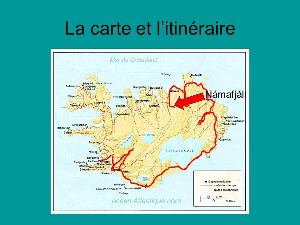 La carte et litinéraire Námafjáll