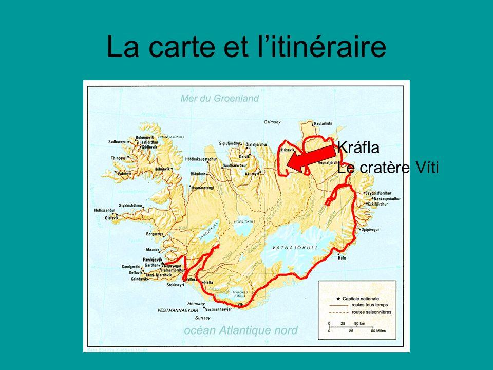La carte et litinéraire Kráfla Le cratère Víti