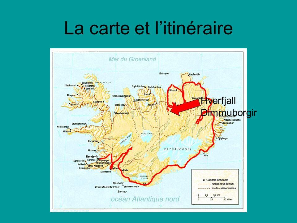 La carte et litinéraire Hverfjall Dimmuborgir