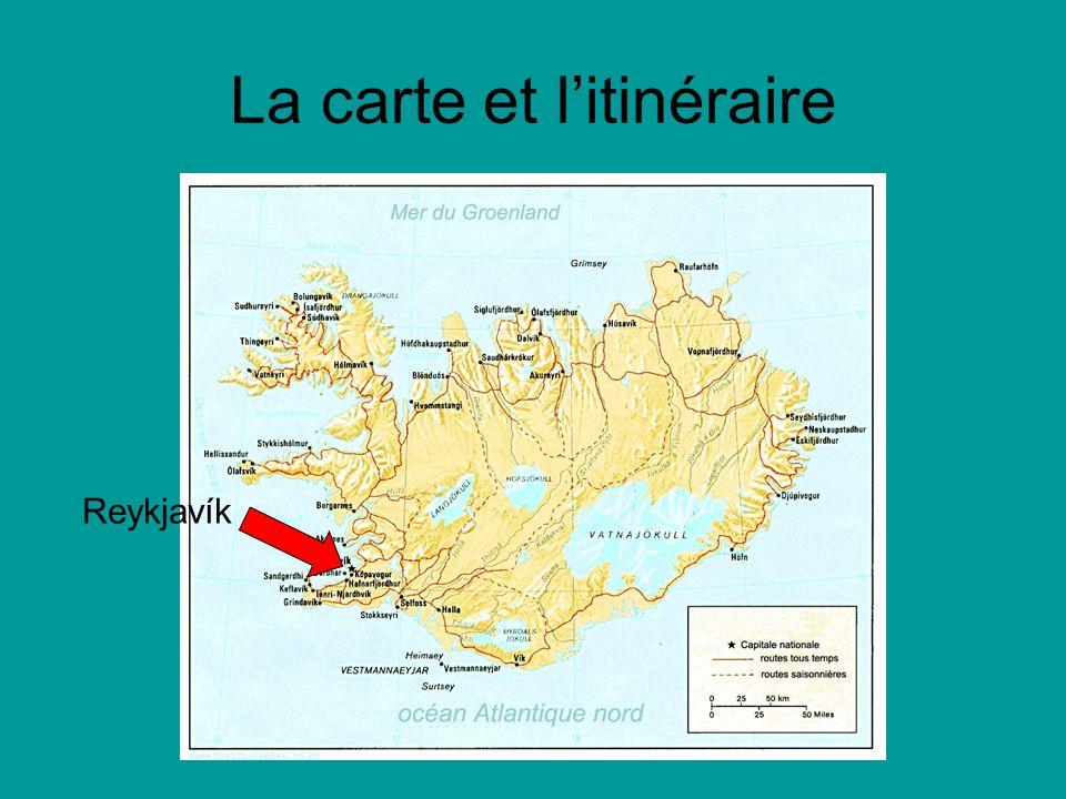 La carte et litinéraire Le lac de Mývatn