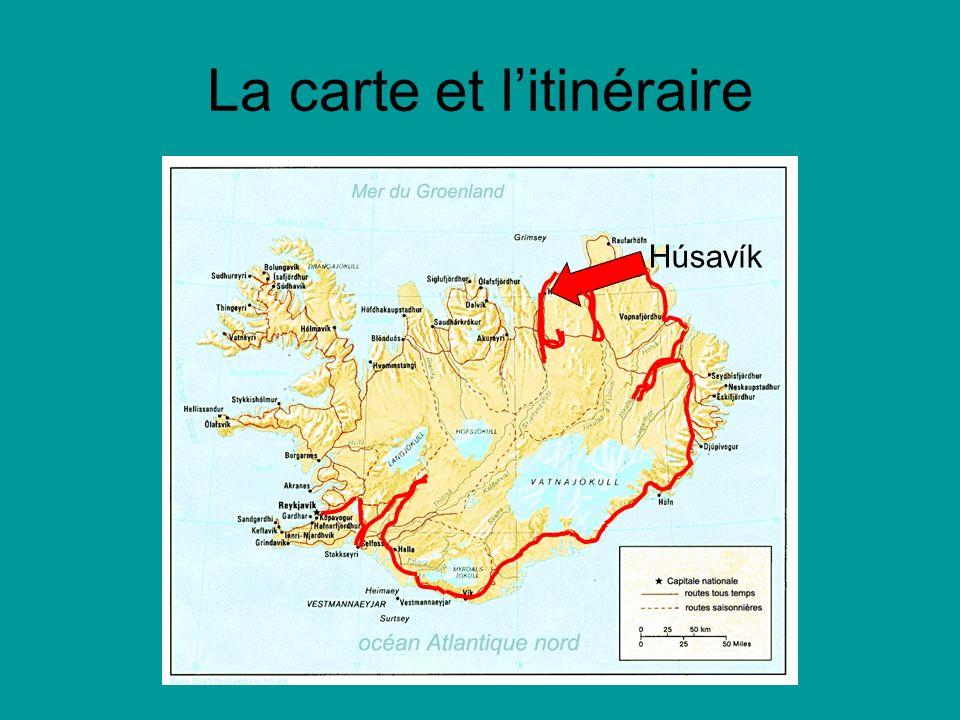 La carte et litinéraire Húsavík