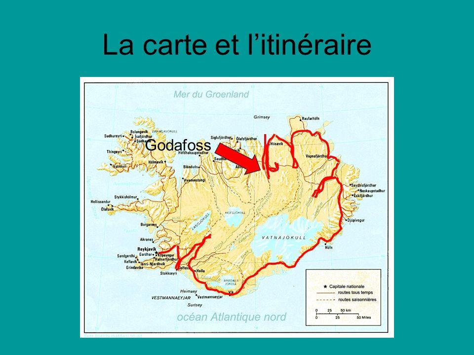 La carte et litinéraire Godafoss