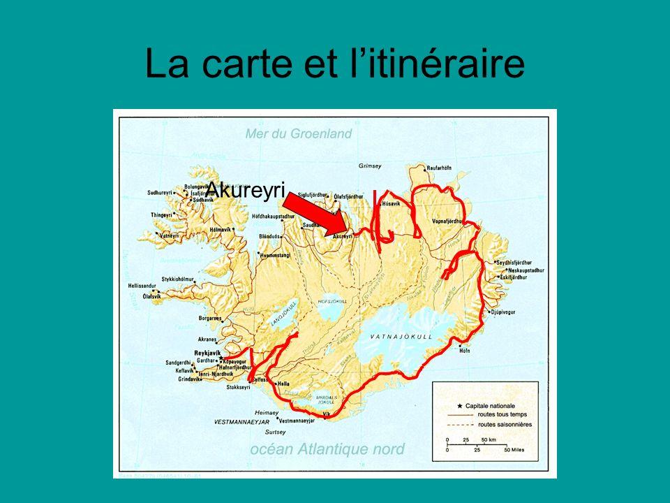 La carte et litinéraire Akureyri