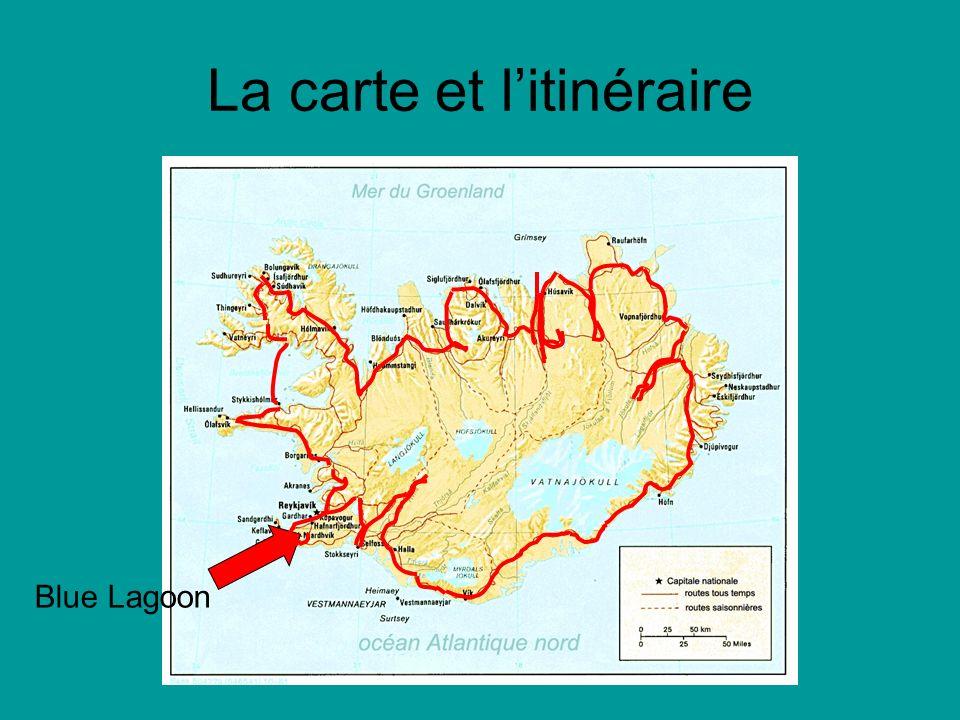 La carte et litinéraire Blue Lagoon