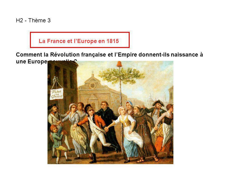 H2 - Thème 3 La France et lEurope en 1815 Comment la Révolution française et lEmpire donnent-ils naissance à une Europe nouvelle ?