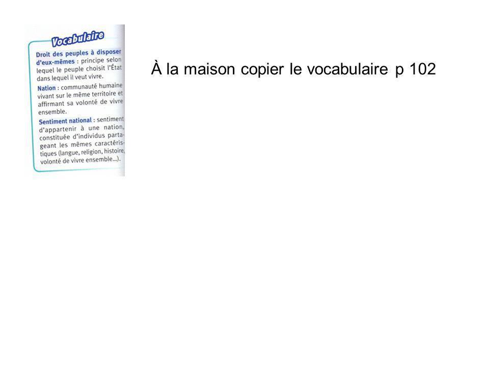À la maison copier le vocabulaire p 102
