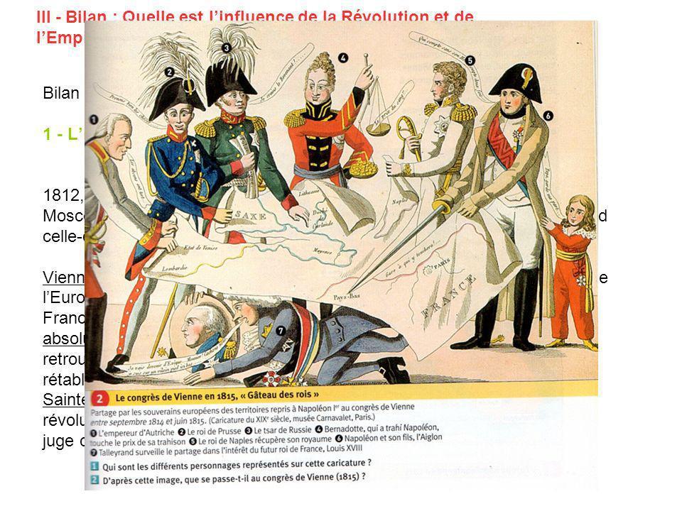 III - Bilan : Quelle est linfluence de la Révolution et de lEmpire sur lEurope du début du XIX° siècle ? Bilan à coller 1 - Lillusion dun retour à lor
