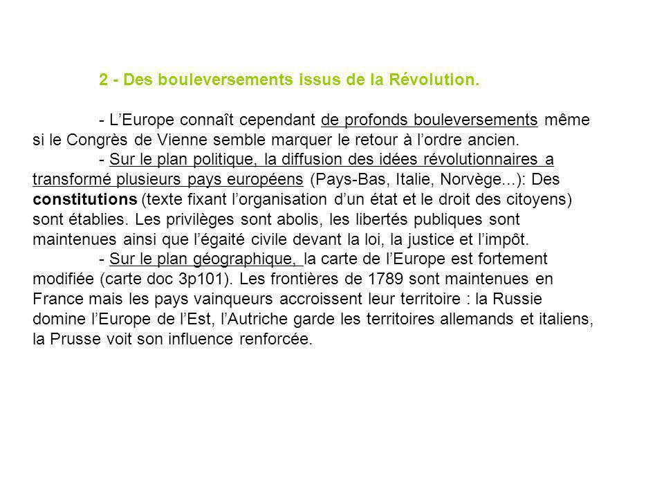 2 - Des bouleversements issus de la Révolution. - LEurope connaît cependant de profonds bouleversements même si le Congrès de Vienne semble marquer le