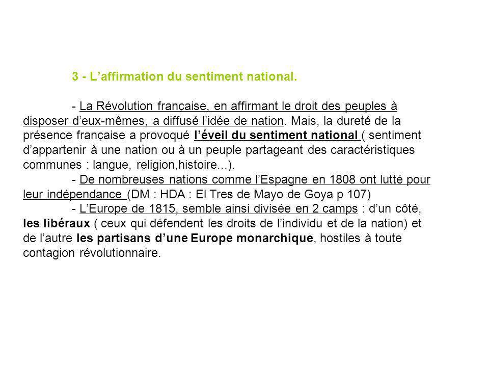 3 - Laffirmation du sentiment national. - La Révolution française, en affirmant le droit des peuples à disposer deux-mêmes, a diffusé lidée de nation.