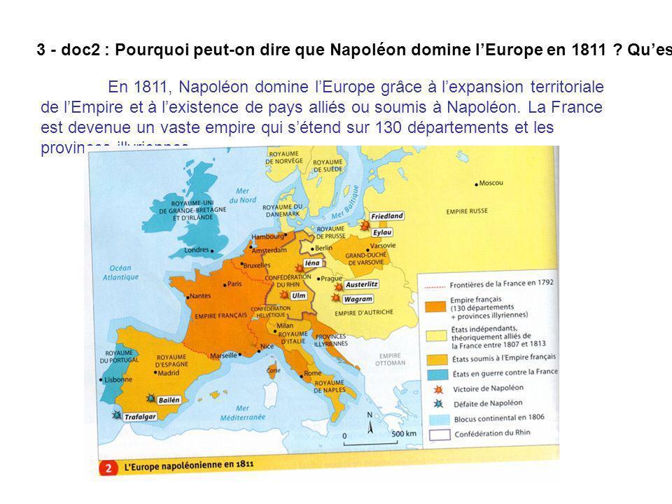 3 - doc2 : Pourquoi peut-on dire que Napoléon domine lEurope en 1811 ? Quest devenue la France ? En 1811, Napoléon domine lEurope grâce à lexpansion t